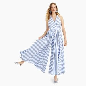 J Crew Widest-leg jumpsuit striped cotton poplin